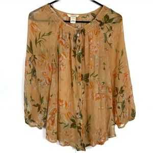 Sundance Silk Blouse Yellow Floral Medium